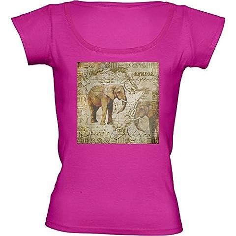 Camiseta Cuello Redondo para Mujer - Elefantes De áfrica by Andrea Haase