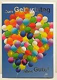 A4 XXL Geburtstagskarte bunte Luftballon-Traube Alles Gute