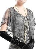 ArtiDeco 1920er Jahre Retro Schal Umschlagtücher für Abendkleider Braut Schal für Hochzeit Party Gatsby Kostüm Accessoires (Grau)