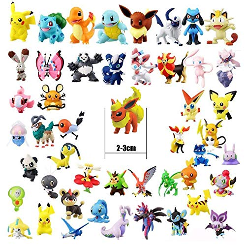 OMZGXGOD Pokemon Figuras , Mini Figuras de plástico tamaño pequeño Regalo, La Figura de Pokémon Incluye a Pikachu,  Charmander,  Squirtle,  niños(96 Piezas)