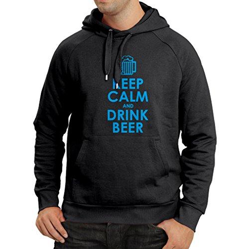 lepni.me Kapuzenpullover Behalten Sie Ruhe und Getränk Bier - Getting betrunken, Lustige Zitate Alkohol Geschenke (XXX-Large Schwarz Blau) (Bier Lassen Trinken Sie)