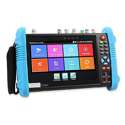 OnvianTech 7 Zoll IPS Touch Screen IP Kamera Tester IP / Analog / HD-TVI / HD-CVI / AHD / SDI / Digital Multi-Meter / Optisches Leistungsmessgerät / Visual Fault Locator / TDR / IP Entdeckung / Rapid ONVIF / POE WIFI 1080P H .265 CCTV Tester IPC-9800MOVTSADH Plus Upgrade