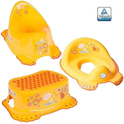 GoFuture 3er Set Toilettentrainer für Kinder – WC-Sitz + Töpfchen + Hocker für Jungen und Mädchen – Alle Teile (Kindertopf, Toilettensitz, Tritthocker) sind zertifiziert und TÜV geprüft Vögelchen Gelb