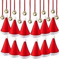16 Pezzi Cappelli di Santa Natale Cappello con 16 Pezzi Jingle Bell Campane  Collane per la e4989ad45093