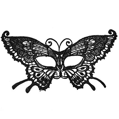 ade Maske Schmetterling Eyemask Augenmaske Schwarz Halloween Lace Maske Dance Club Augenmuschel (Mardi Gras Maske Schmetterling)