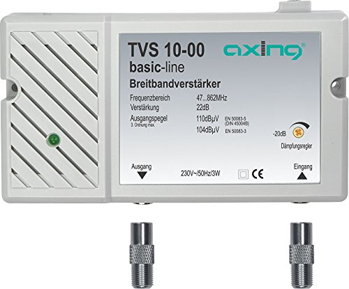 Axing TVS 10-00 Amplificatore Banda Larga per digitale terrestre tv e radio (22 dB, 47-862 MHz)