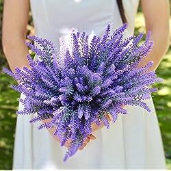 Dekorativer Blumenstrauß aus künstlichem Lavendel von Houda, Blumenbukett zur Heimdekoration - 4 Sträuße violett