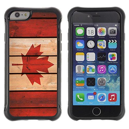 Graphic4You Holz Kanada kanadische Flagge Stoßfeste Anti-Rutsch Weichen Hülle Case Tasche Schale Schutzhülle für Apple iPhone 6 Plus / 6S Plus Design #1