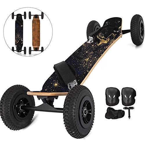 "FlowerW Mountainboard 39\""All Terrain Skateboard Longboard Off Road Skateboard mit Bindung für Cruising, Free Style, Downhill und Dancing (Erde)"
