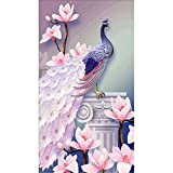 DIY 5D Diamond Painting, Crystal Rhinestone Diamond Embroidery Paintings Pictures Arts Craft for Home Wall Decor Peacock Facing the Right 11.8 * 19.7 inch