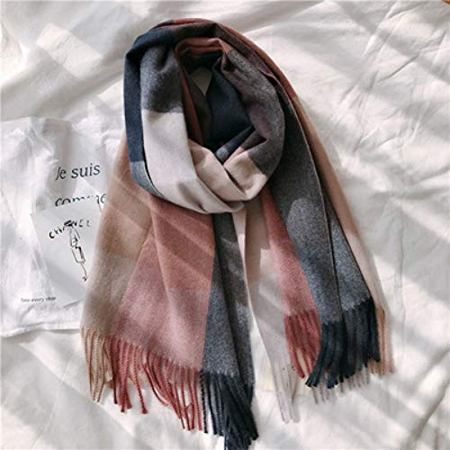 HAZVPO Women Shawl 200X60Cm Wool Winter Plaid Color Matching Pink Wool Stole Blankt Scarf-Navy pink