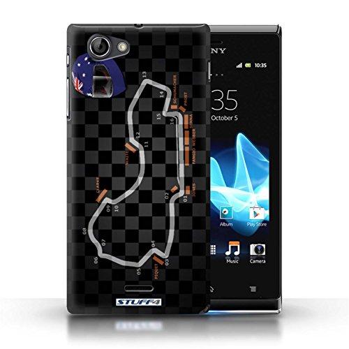 Kobalt® Imprimé Etui / Coque pour Sony Xperia J (ST26i) / USA/Austin conception / Série 2014 F1 Piste Australie/Melbourne