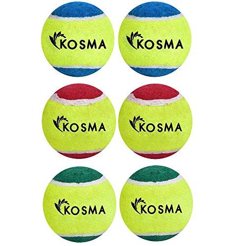 Kosma 6 Tennis Ball | Pet-Bälle Tennisbälle | Hund | Spielzeug Spielzeug Ball für PET-Ausbildung, Farbe: 2 Pc Rot/Gelb, 2 PC-Gelb/Grün, 2 Pc Blau/Grün) (Rote Hund-ball)