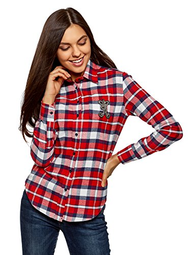 oodji Ultra Damen Flanell-Hemd mit Applikation auf der Brusttasche, Rot, DE 36/EU 38/S (Damen-flanell)