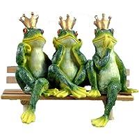 Rana decorativo con tres Reyes ranas en un banco/resistente al agua