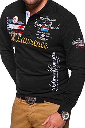 MT Styles Langarm Poloshirt LAWRENCE T-Shirt MP-451 Schwarz