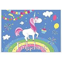 """12 Einladungskarten """"Einhorn auf Regenbogen"""" Kindergeburtstag Luftballons Girlanden Sterne / Geburtstagseinladungen Einladungen Geburtstag Kinder Jungen Mädchen Einladungstext Vorlagen Karten Set"""