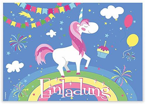 """12 Einladungskarten \""""Einhorn auf Regenbogen\"""" Kindergeburtstag Luftballons Girlanden Sterne / Geburtstagseinladungen Einladungen Geburtstag Kinder Jungen Mädchen Einladungstext Vorlagen Karten Set"""