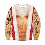 Rave on Friday Unisex 3D Pullover Teenager Druck Brustbehaarung Muster Bequem Lose Sweatshirts Casual Kostüme für Paar Familie L