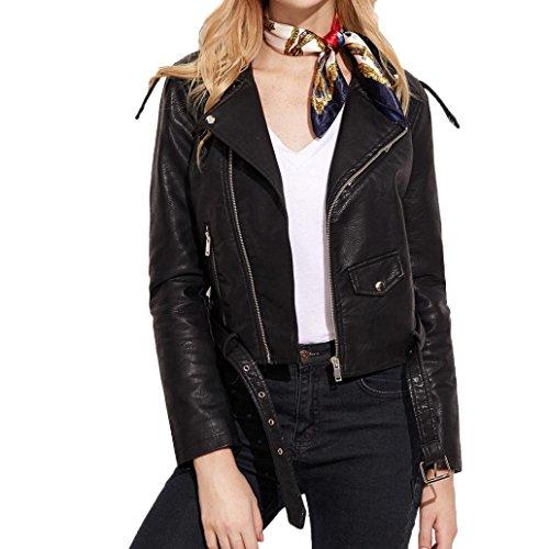 Internet Damen Herbst mode Jacke Mantel Racing Style Biker Jacke (S, schwarz)