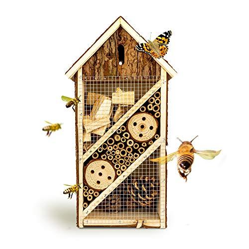 bambuswald Insektenhotel 19,5 x 10 x 37 cm | Bienenhotel/Unterschlupf für Insekten - Insektenhaus Naturmaterialien. Gelebter Natur- & Artenschutzfür Zuhause -NistkastenHausNützlingshotel Schutz