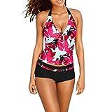 Bikinis + Kurze Hosen Damen, Sunday Frauen Bikini Set Bandage Push-Up Gepolsterter BH Strand Bademode Badeanzug Baden Neur Mode Plus Size (Rot, L)