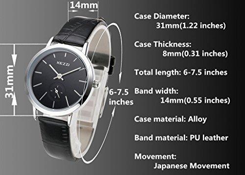 JSDDE Uhren,Casual Partner-Armbanduhr Lederarmband Quarz Uhren Business Armbanduhr Mutter&Tochter Paaruhren Set,Schwarz
