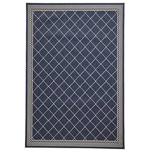 HomeLinenStore Designer-Stil sehr langlebig Midnight Blau Farbe Zig Zag Gestreift Teppich in zwei verschiedenen Größen, Polypropylen, midnight blue, 160 x 220 Cm (Navy Zeitgenössische Teppich)