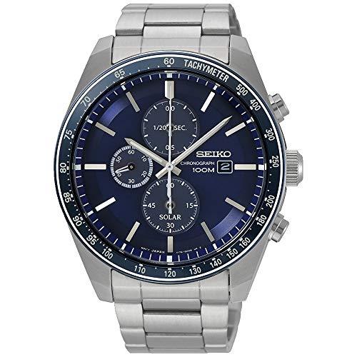 Seiko solar Herren Uhr analog Solar mit Edelstahl Armband SSC719P1