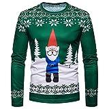 Unisex Weihnachtspullover Unisex Hip Hop Sweatshirts mit 3D Digital Print 3D Muster (Grün,L)