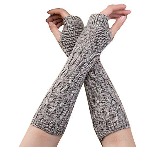 12shage Frau Damen Wolle Extra lange Fingerless Handschuhe Dehnbar Armlinge Winter Wärmer Strick Handschuhe Gestricktes Fingerlose Armstulpen Fäustlinge