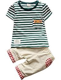 iBaste Unisex Camisa rayas + Pantalones cortos del Verano de la Moda para niños niñas