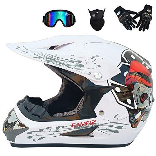 PKFG® Motocross Helm, WT-051 Serie Integralhelm Motorradhelm Sport Adventure Enduro Motocross Schutzhelm Motorrad-Helm Damen Herren Motocross Helm mit Brille Handschuhe Maske,XL60~61CM Adventure Handschuhe