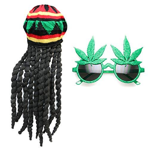 Robelli Jamaikanisch Style Dreadlocks Hut mit / Cannabisblatt Sonnenbrille