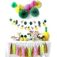 SUNBEAUTY Decorazione Fenicottero e Ananas, Festa per Estate, Compleanno, Baby Shower, Decorazione di Carta Rosa, per Tutta Festa, Foto Props, Torta Decor (Verde e Rosa, 31 Pezzi)