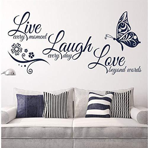 LijunMimo Wandtattoo Wandaufkleber Decal Wandsticker Wandbilder Schmetterling Mural Selbstklebend PVC Tapete Text Live Love Laugh Dekoration Schlafzimmer 27X58cm (Live-schmetterling-kit)
