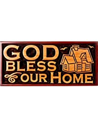 God Bless Our Home House Christian plaque wooden 20cm