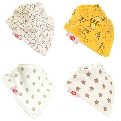 Zippy Fun Bandana Dribble Bibs for Baby Girls and Toddlers (Stylish Cream set, pack of 4)