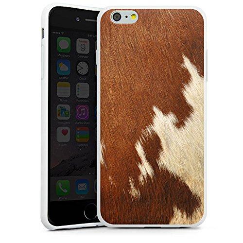 Apple iPhone 6s Plus Tasche Hülle Flip Case Kuhfell Look Tiere Braun Weiß Silikon Case weiß