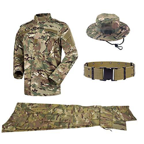 ormen Herren Jacke&Hose Stück Sets mit Gürtel&Boonie Hat Military Combat BDU Camo für Airsoft Paintball Swat Camping Outdoor-Sportarten ()