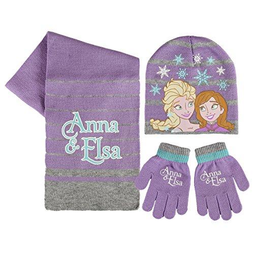 Disney Frozen - Set 3pz Inverno Cappello Sciarpa e Guanti - Bambina Anna Elsa