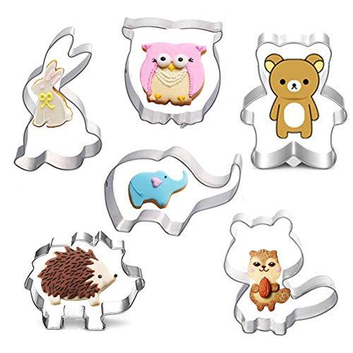 Qcool Ausstecher Tier Set Fondant Brot Edelstahl Ausstechformen für Kinder 6 Stück Kaninchen, Eichhörnchen, Igel, Eule, Bär, Elefant