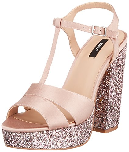 ONLY Damen onlALLIE Satin Heeled Glitter Peeptoe Sandalen, Rose Pink, 39 EU -