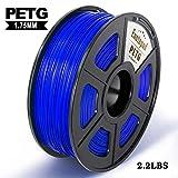 Filamento PETG, 1 kg (2.2 lb), PETG 1.75 mm, precisión dimensional 1.75 +/- 0.02 mm, materiales impresión 3D filamentos, compatible con mayoría de las impresoras 3D, PETG 1kg azul
