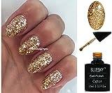 BLUESKY SP18Superstar klar mit Gold Gel und Sterne Nagellack-Gel UV-LED-Soak Off 10ml plus 2LuvliNail Shine Tücher