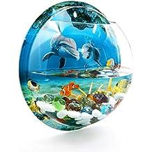 sourcingmap® Acrylic Wall Mounted Hanging Fishbowl Plant Bubble Bowl 10.2inch Dia/1.2 Gallon