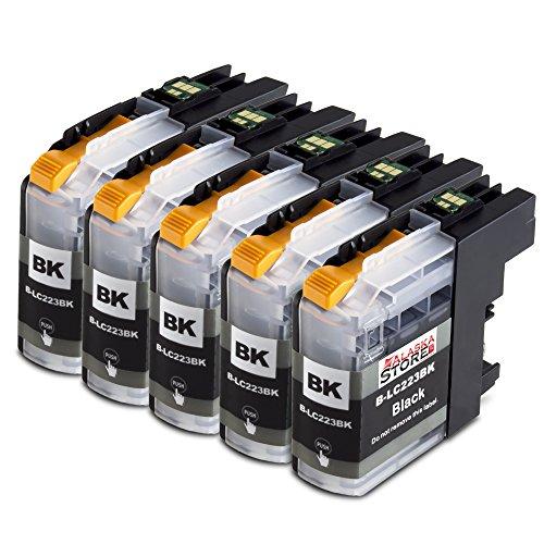 5 Druckerpatronen Komp. für Brother LC 223xl LC223xl Schwarz Black BK für Brother MFC-J4420DW MFC-J4620DW MFC-J4625DW MFC-J5320DW MFC-J5620DW