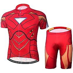jersey Iron Man Summer Men Ciclismo Conjunto De Manga Corta Bib Pantalones Cortos Transpirables Ropa De Bicicleta De Secado Rápido S