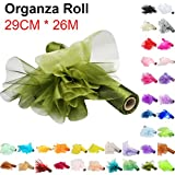 TtS 29cm X 26M Organza Roll Sash Fabric Table Runner Sashes Chair Cover Bows Swags for Wedding Party - Olive Green