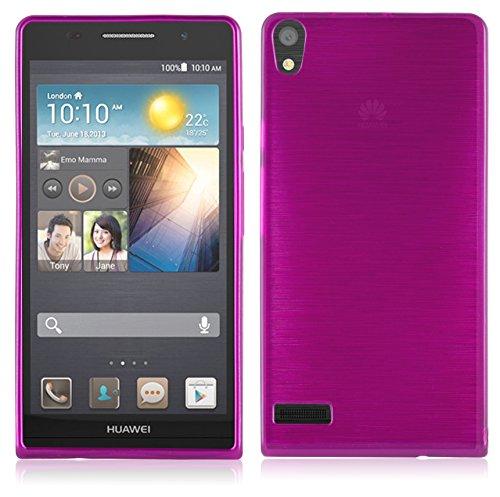 Cadorabo DE-104989 Huawei Ascend P6 Handyhülle aus TPU Silikon in gebürsteter Edelstahloptik (Brushed) Pink